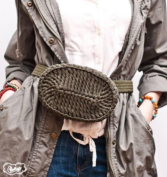 Вязание крючком поясной сумки через плечо